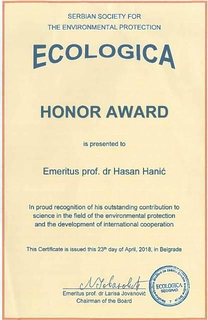 Ecologica priznanje sajt
